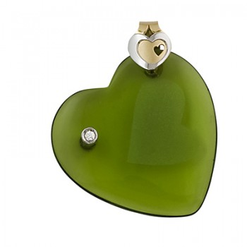 Colgante corazón de cristal olivina - Regalanda