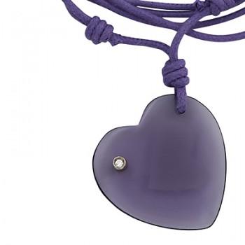 Collar de macrame con colgante corazon de cristal amatista - Regalanda