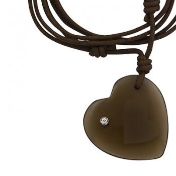 Collar de macrame con colgante corazon de cristal fume - Regalanda