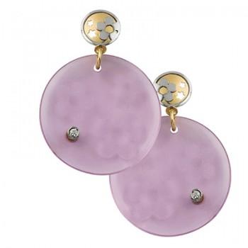 Pendientes redondos de cristal rosa - Regalanda