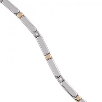Pulsera de  de Plata/Oro 1,5/10 de eslabones con circonitas blancas. - Regalanda