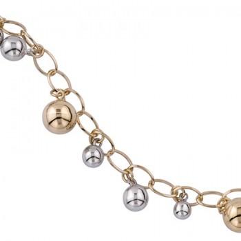 Pulsera de  de Plata/Oro 1/10 con cadena de bolas - Regalanda
