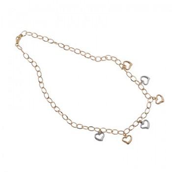 Collar de Plata/Oro 1,5/10 con corazones - Regalanda