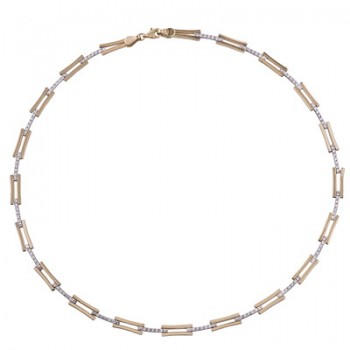 Collar de Plata/Oro 2,5/10 con eslabones y circonitas - Regalanda