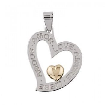 Colgante de Plata/Oro con corazón calado - Regalanda