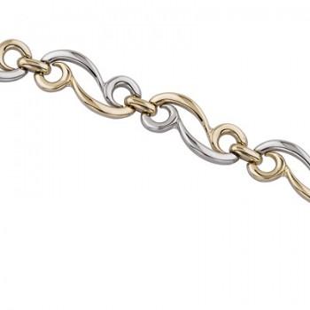Pulsera de  de Plata/Oro 1/10 de eslabones combinando oro y plata en brillo. - Regalanda
