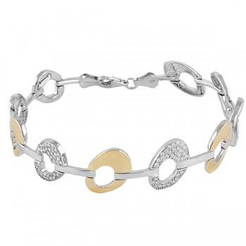 Pulsera de  de Plata/Oro 1/10 con eslabones ovalados y circonitas blancas. - Regalanda
