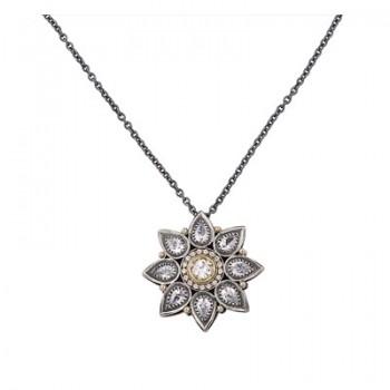Colgante de Plata/Oro 1/10 con forma de flor y circonitas blancas - Regalanda
