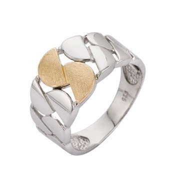 Sortija de Plata/Oro 2/10 oxidada y tallada - Regalanda