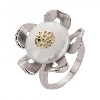 Sortija de Plata/Oro 0.5/10 con perla barroca - Regalanda