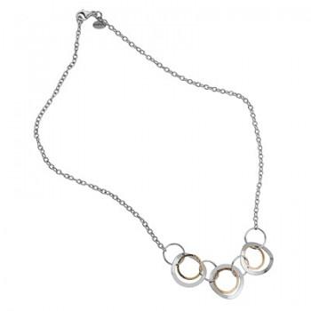Collar de Plata/Oro 1/10 con aros enlazados - Regalanda