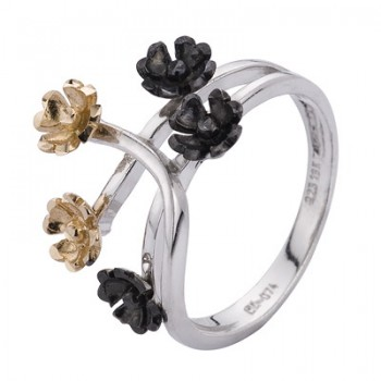 Sortija de Plata/Oro 1.5/10 con flores y tallos - Regalanda
