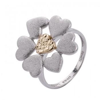 Sortija de Plata/Oro 1/10 con flor de corazones - Regalanda