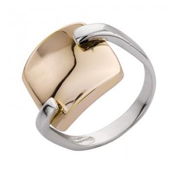 Sortija de Plata/Oro 1/10 con cuadrado en brillo - Regalanda