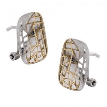 Pendientes de Plata/Oro 1/10 rectagunar con calados - Regalanda