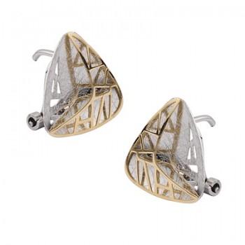 Pendientes de  Plata/Oro 1/10 con forma triangular y reja - Regalanda