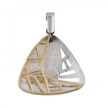 Colgante de Plata/Oro 2/10 con forma triangular y reja - Regalanda
