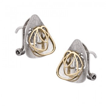 Pendientes de  Plata/Oro 1/10 con forma triangular y rosa - Regalanda