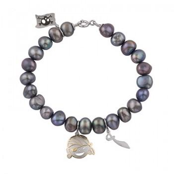 Pulsera de  de Plata/Oro 1/10 de perlas naturales y charm de aventura. - Regalanda
