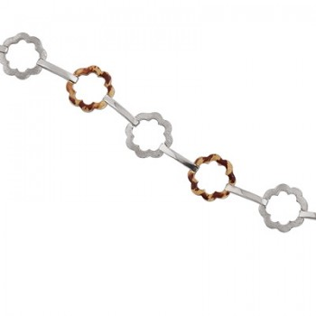 Pulsera de  de Plata/Oro 0,5/10 con eslabones con forma de flor y tramo en brillo. - Regalanda