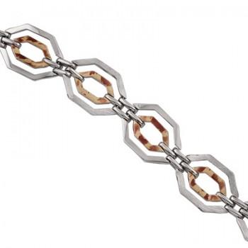 Pulsera de  de Plata/Oro 0,5/10 con eslabones con forma de hexagonos y tramo doble. - Regalanda