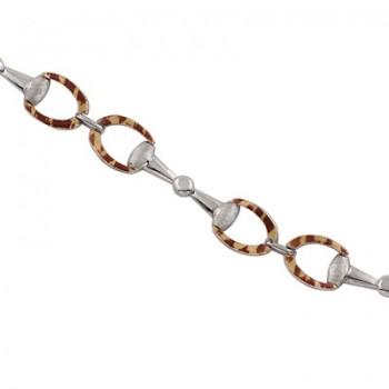 Pulsera de  de Plata/Oro 0.5/10 con eslabones con forma de estribos esmaltados. - Regalanda