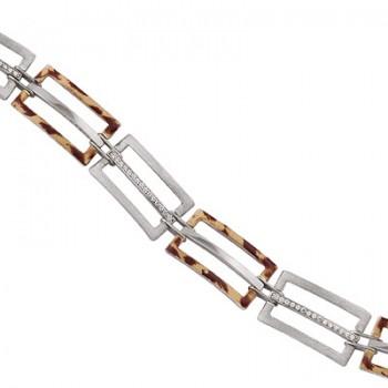 Pulsera de  de Plata/Oro 0.5/10 con eslabones rectangulos alternando tramos con circonitas en carril - Regalanda