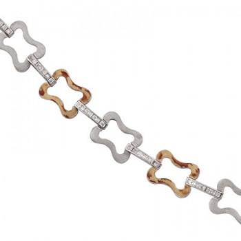 Pulsera de  de Plata/Oro 0.5/10 con eslabones con forma de lazo y tramo con circonitas en carril. - Regalanda