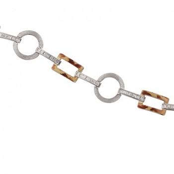 Pulsera de  de Plata/Oro 0.5/10 con eslabones rectangulos y redondos y tramo con circonitas en carri - Regalanda