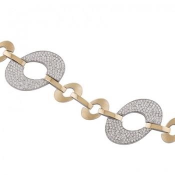 Pulsera de  de Plata/Oro 0.5/10 con eslabones ovalados en oro y con circonitas blancas. - Regalanda