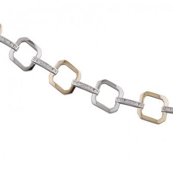 Pulsera de  de Plata/Oro 0.5/10 con eslabones cuadrados y tramo con circonitas en carril. - Regalanda
