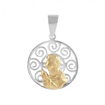 Colgante de Plata/Oro 2/10 con Virgen niña - Regalanda