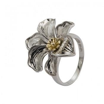 Sortija de Plata/Oro 1/10 con flor tallada - Regalanda