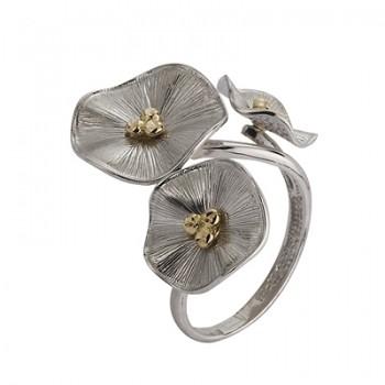 Sortija de Plata/Oro 1,5/10 con tres flores - Regalanda