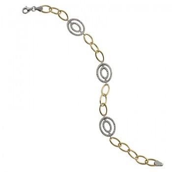 Pulsera de  de Plata/Oro 1.5/10 con ovalos y circonitas blancas. - Regalanda