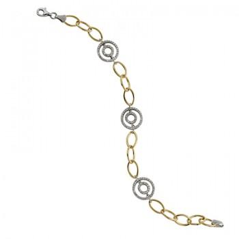 Pulsera de  de Plata/Oro 1.5/10 con aros y circonitas blancas. - Regalanda