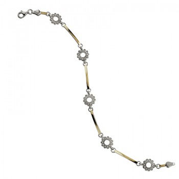 Pulsera de  de Plata/Oro 0.5/10 con eslabones y florecitas con circonitas blancas. - Regalanda