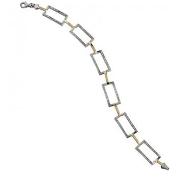 Pulsera de  de Plata/Oro 0.5/10 con eslabones y circonitas con forma de baguette. - Regalanda