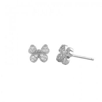 Pendientes de plata rodiada mariposa con circonitas blancas. - Regalanda