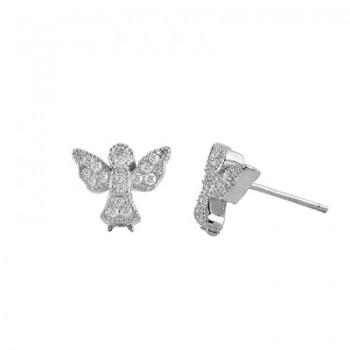 Pendientes de plata rodiada angelito con circonitas blancas. - Regalanda