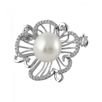 Broche de perla en plata  rodiada con circonitas blancas. - Regalanda