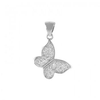 Colgante de mariposa en plata rodiada con circonitas blancas. - Regalanda