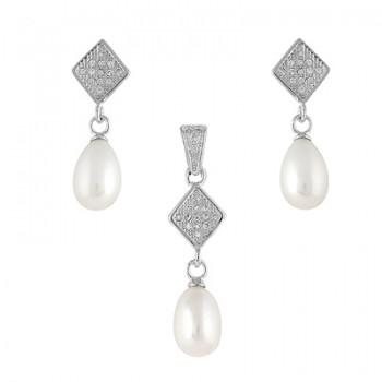 Juego de plata con perlas y circonitas blancas. - Regalanda