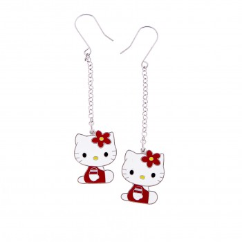 PENDIENTES EN PLATA HELLO KITTY ROJO - Regalanda