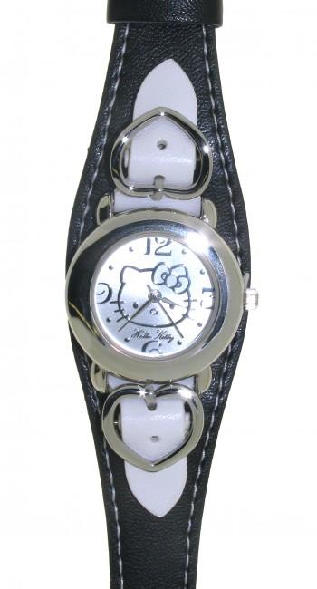 Reloj de HELLO KITTY estilo juvenil con pulsera de polipiel negra combinada con pulsera polipiel bla - Regalanda