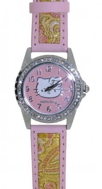 Reloj de HELLO KITTY estilo juvenil con pulsera de polipiel rosa combinada con bordados en dorado. - Regalanda