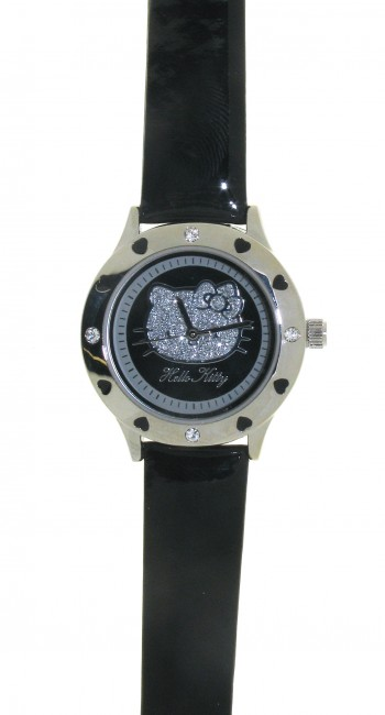 Reloj de HELLO KITTY estilo juvenil con pulsera de polipiel negra, maquinariaMIYOTA. Esfera en negr - Regalanda