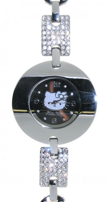 Reloj de HELLO KITTY estilo juvenil con pulsera de acero y circonitas blancas.Esfera en negro con c - Regalanda