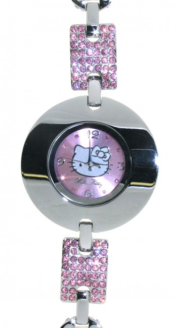 Reloj de HELLO KITTY estilo juvenil con pulsera de acero y circonitas rosas.Esfera en rosa con circ - Regalanda