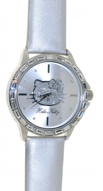Reloj de HELLO KITTY estilo juvenil con pulsera de polipiel en plata.Esfera en plata con circonitas - Regalanda
